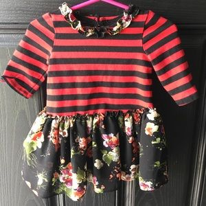 Striped and Floral Baby Dress.